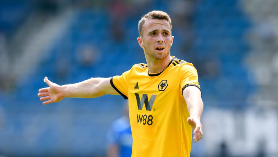 BOCHUM, GERMANY - JULY 22: Diogo Jota of Wolverhampton Wanderers gestures during the H-Hotels Cup match between VfL Bochum and  Wolverhampton Wanderers FC at Vonovia Ruhrstadion on July 22, 2018 in Bochum, Germany. (Photo by TF-Images/Getty Images)