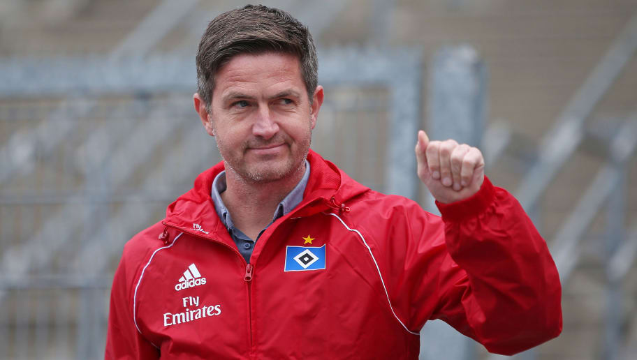 HAMBURG, GERMANY - JUNE 23: Ralf Becker, sports director of Hamburger SV shows up for the first training session of the new season at Volksparkstadion on June 23, 2018 in Hamburg, Germany. Hamburger SV were relegated to the Second Bundesliga at the end of the last season for the first time in the club's history. (Photo by Cathrin Mueller/Bongarts/Getty Images)