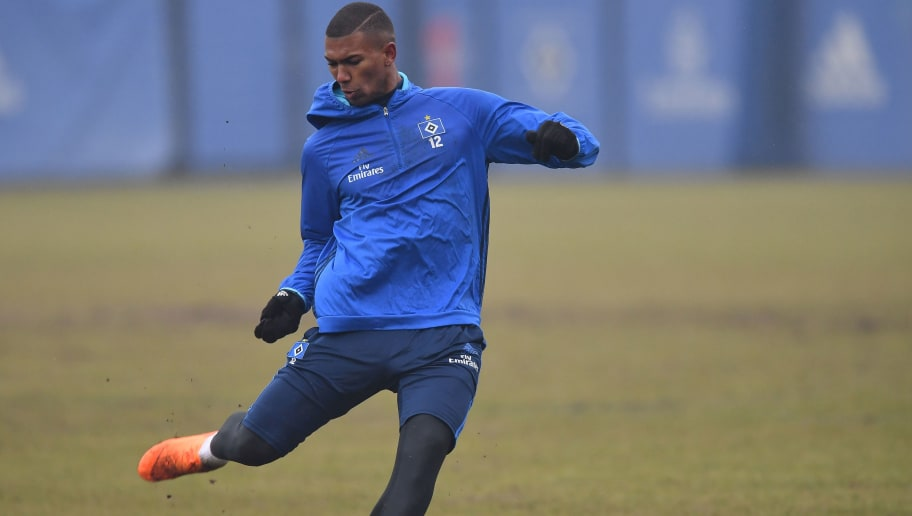 HAMBURG, GERMANY - MARCH 07:  Walace of Hamburg in action during a training session of Hamburger SV at Volksparkstadion on March 7, 2018 in Hamburg, Germany.  (Photo by Stuart Franklin/Bongarts/Getty Images)