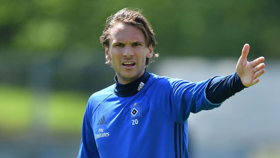 HAMBURG, GERMANY - MAY 02: Albin Ekdal gestures during the training session of Hamburger SV at Volksparkstadion on May 2, 2018 in Hamburg, Germany.  (Photo by Stuart Franklin/Bongarts/Getty Images)
