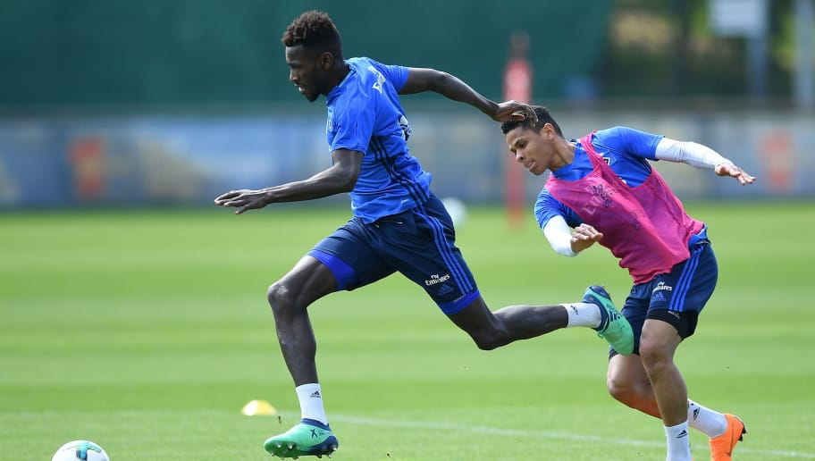 HAMBURG, GERMANY - MAY 02:  Bakery Jatta and  Douglas Santos in action during the training session of Hamburger SV at Volksparkstadion on May 2, 2018 in Hamburg, Germany.  (Photo by Stuart Franklin/Bongarts/Getty Images)