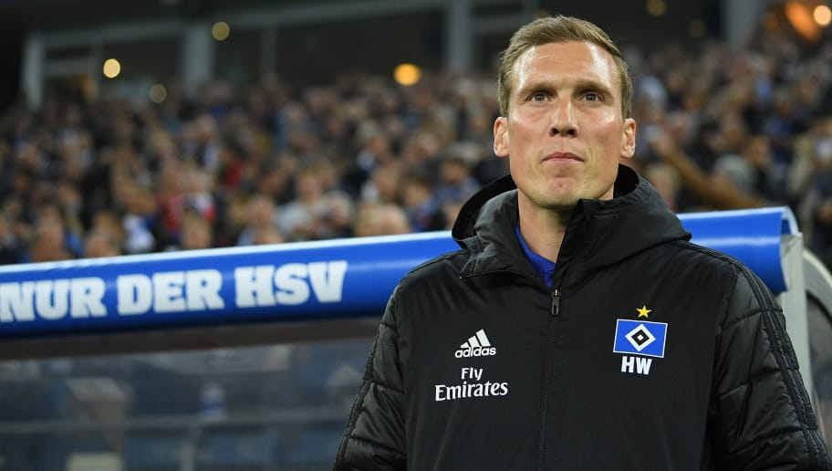 HAMBURG, GERMANY - NOVEMBER 05: Head coach Hannes Wolf of Hamburg looks up prior to during the Second Bundesliga match between Hamburger SV and 1. FC Koeln at Volksparkstadion on November 5, 2018 in Hamburg, Germany. (Photo by Oliver Hardt/Bongarts/Getty Images)
