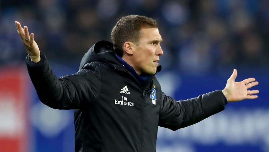 HAMBURG, GERMANY - NOVEMBER 26:  Hannes Wolf, head coach of Hamburg gestures during the Second Bundesliga match between Hamburger SV and 1. FC Union Berlin at Volksparkstadion on November 26, 2018 in Hamburg, Germany.  (Photo by Martin Rose/Bongarts/Getty Images)