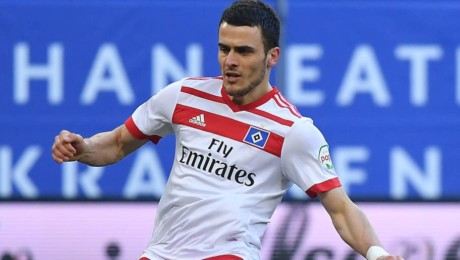 HAMBURG, GERMANY - MARCH 03: Filip Kostic of Hamburg misses a penalty during the Bundesliga match between Hamburger SV and 1. FSV Mainz 05 at Volksparkstadion on March 3, 2018 in Hamburg, Germany. (Photo by Stuart Franklin/Bongarts/Getty Images)
