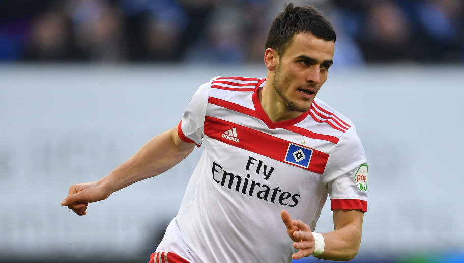 HAMBURG, GERMANY - MARCH 03:  Filip Kostic of Hamburg in action during the Bundesliga match between Hamburger SV and 1. FSV Mainz 05 at Volksparkstadion on March 3, 2018 in Hamburg, Germany.  (Photo by Stuart Franklin/Bongarts/Getty Images)