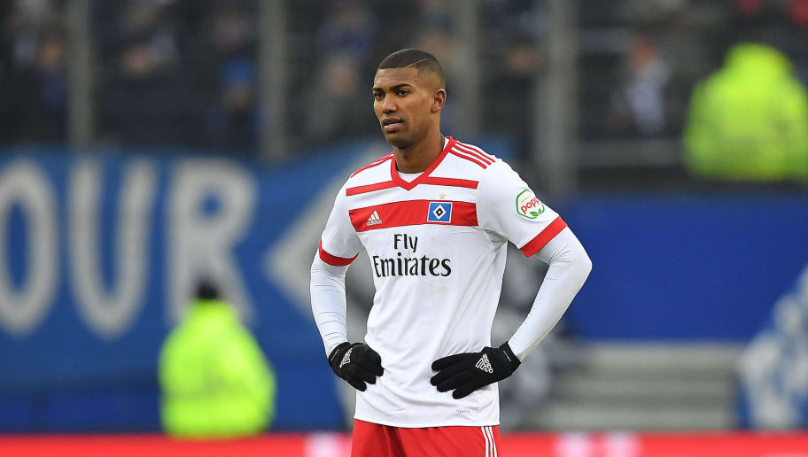 HAMBURG, GERMANY - MARCH 03: Walace of Hamburg stands on the pitch and looks on during the Bundesliga match between Hamburger SV and 1. FSV Mainz 05 at Volksparkstadion on March 3, 2018 in Hamburg, Germany. (Photo by Stuart Franklin/Bongarts/Getty Images)