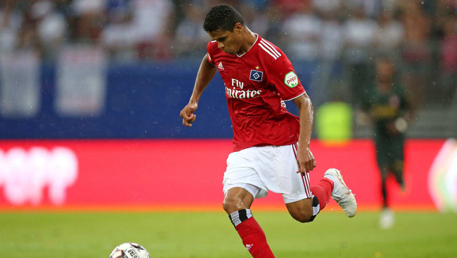 HAMBURG, GERMANY - JULY 28: Douglas Santos of Hamburg controls the ball during the Friendly match between Hamburger SV and AS Monaco at Volksparkstadion on July 28, 2018 in Hamburg, Germany. (Photo by TF-Images/Getty Images)
