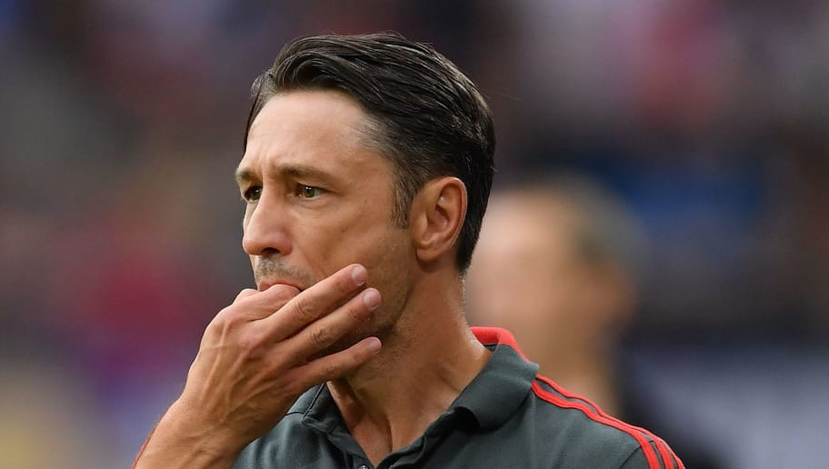 HAMBURG, GERMANY - AUGUST 15:  Nico Kovac, head coach of Muenchen gestures during the friendly match between Hamburger SV and Bayern Muenchen at Volksparkstadion on August 15, 2018 in Hamburg, Germany.  (Photo by Stuart Franklin/Bongarts/Getty Images)