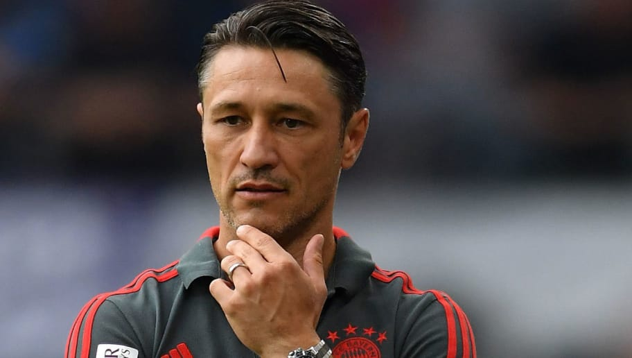 HAMBURG, GERMANY - AUGUST 15:  Nico Kovac, head coach of Muenchen looks on during the friendly match between Hamburger SV and Bayern Muenchen at Volksparkstadion on August 15, 2018 in Hamburg, Germany.  (Photo by Stuart Franklin/Bongarts/Getty Images)