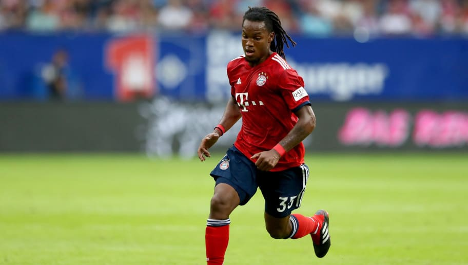 HAMBURG, GERMANY - AUGUST 15:  Renato Sanches of Muenchen runs with the ball during the Friendly match between Hamburger SV FC Bayern Muenchen at Volksparkstadion on August 15, 2018 in Hamburg, Germany.  (Photo by Martin Rose/Bongarts/Getty Images)