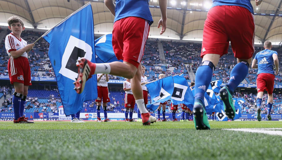 HAMBURG, GERMANY - MAY 12:  Players of Hamburg enter the pitch to warm up for the Bundesliga match between Hamburger SV and Borussia Moenchengladbach at Volksparkstadion on May 12, 2018 in Hamburg, Germany.  (Photo by Alex Grimm/Bongarts/Getty Images)