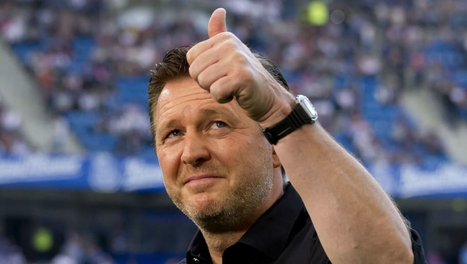 HAMBURG, GERMANY - MAY 12: Head coach Christian Titz of Hamburg gestures prior to the Bundesliga match between Hamburger SV and Borussia Moenchengladbach at Volksparkstadion on May 12, 2018 in Hamburg, Germany. (Photo by TF-Images/Getty Images)