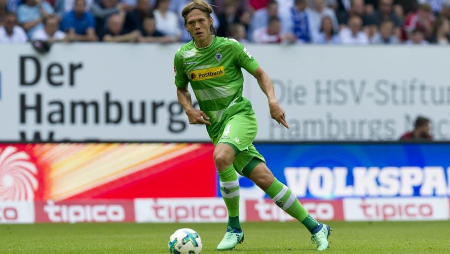 HAMBURG, GERMANY - MAY 12: Jannik Vestergaard of Moenchengladbach controls the ball during the Bundesliga match between Hamburger SV and Borussia Moenchengladbach at Volksparkstadion on May 12, 2018 in Hamburg, Germany. (Photo by TF-Images/Getty Images)