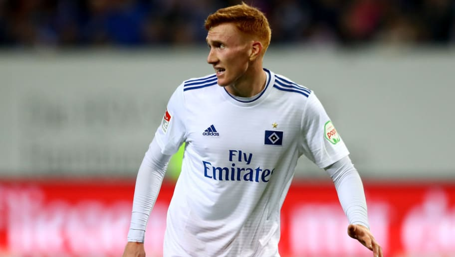 HAMBURG, GERMANY - AUGUST 27:  David Bates of Hamburg reacts during the Second Bundesliga match between Hamburger SV and DSC Arminia Bielefeld at Volksparkstadion on August 27, 2018 in Hamburg, Germany.  (Photo by Martin Rose/Bongarts/Getty Images)