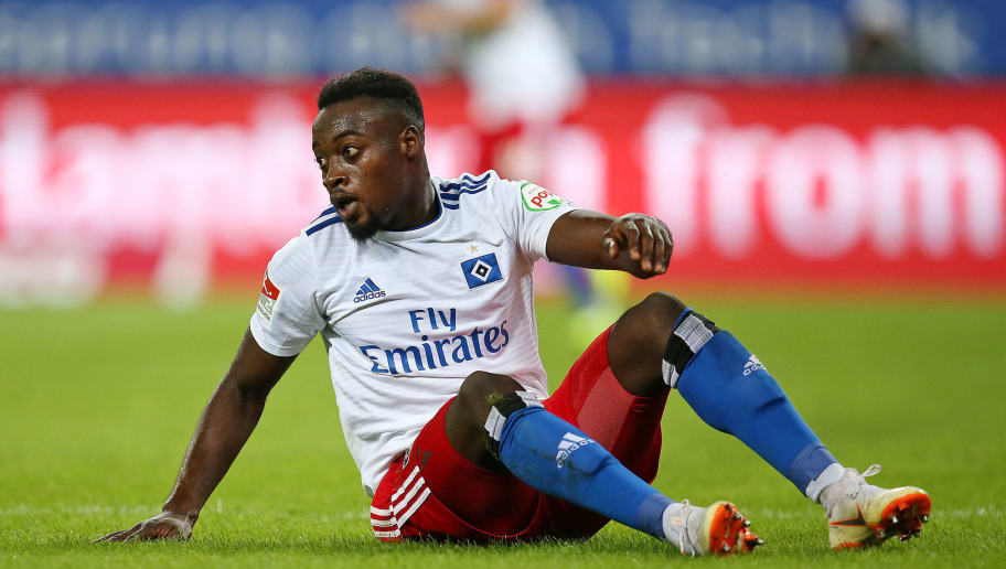 HAMBURG, GERMANY - AUGUST 27: Khaled Narey of Hamburger SV on the ground during the Second Bundesliga match between Hamburger SV and DSC Arminia Bielefeld at Volksparkstadion on August 27, 2018 in Hamburg, Germany. (Photo by TF-Images/Getty Images)