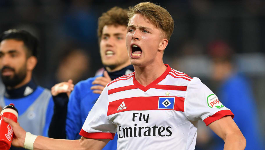 HAMBURG, GERMANY - APRIL 07: Jann-Fiete Arp of Hamburg celebrates after the Bundesliga match between Hamburger SV and FC Schalke 04 at Volksparkstadion on April 7, 2018 in Hamburg, Germany. (Photo by Stuart Franklin/Bongarts/Getty Images)