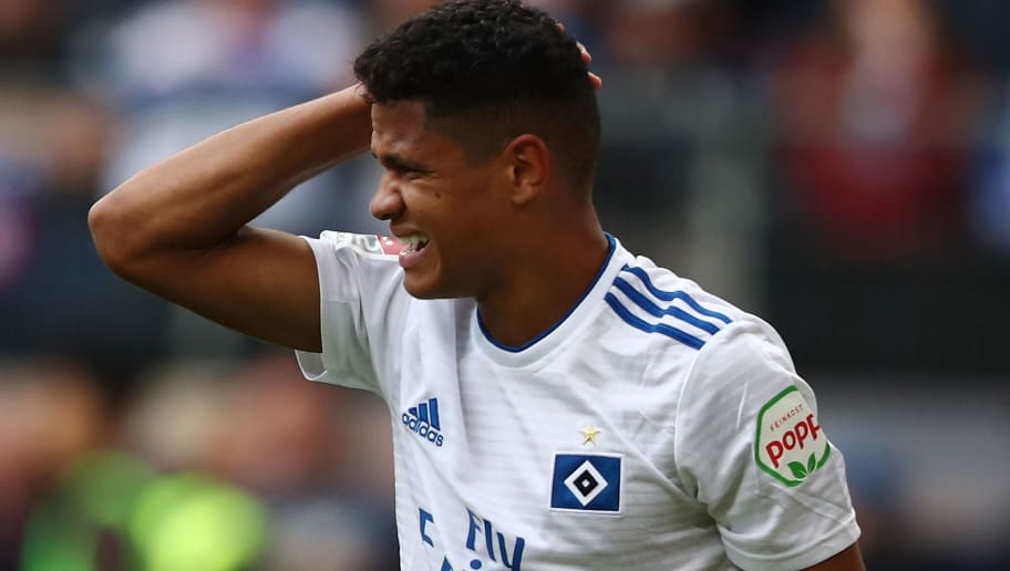 HAMBURG, GERMANY - SEPTEMBER 30: Douglas Santos of Hamburg  disappointed during the Second Bundesliga match between Hamburger SV and FC St. Pauli at Volksparkstadion on September 30, 2018 in Hamburg, Germany. (Photo by Oliver Hardt/Bongarts/Getty Images)