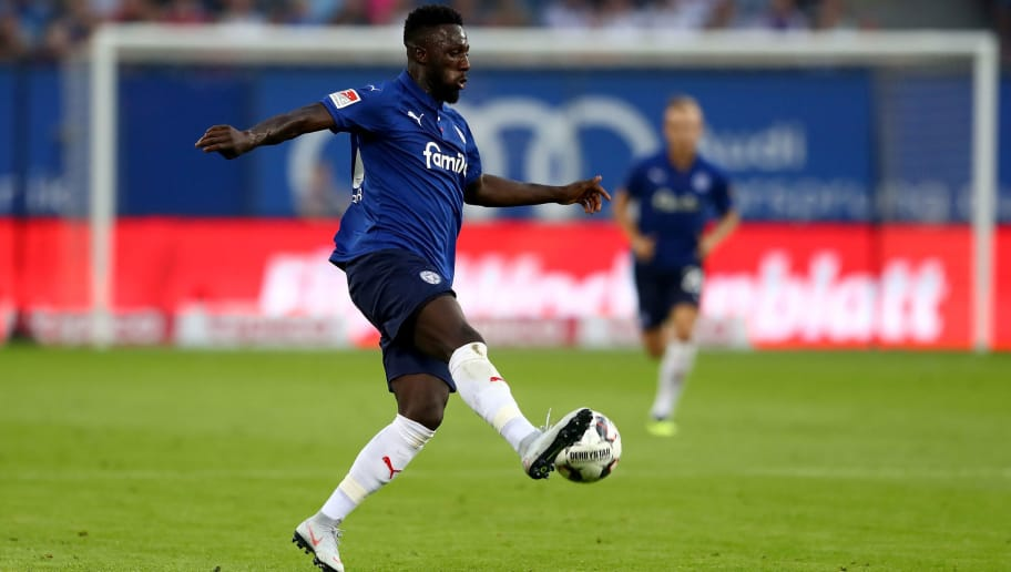 HAMBURG, GERMANY - AUGUST 03:  Kingsley Schindler of Kiel runs with the ball during the Second Bundesliga match between Hamburger SV and Holstein Kiel at Volksparkstadion on August 3, 2018 in Hamburg, Germany.  (Photo by Martin Rose/Bongarts/Getty Images)