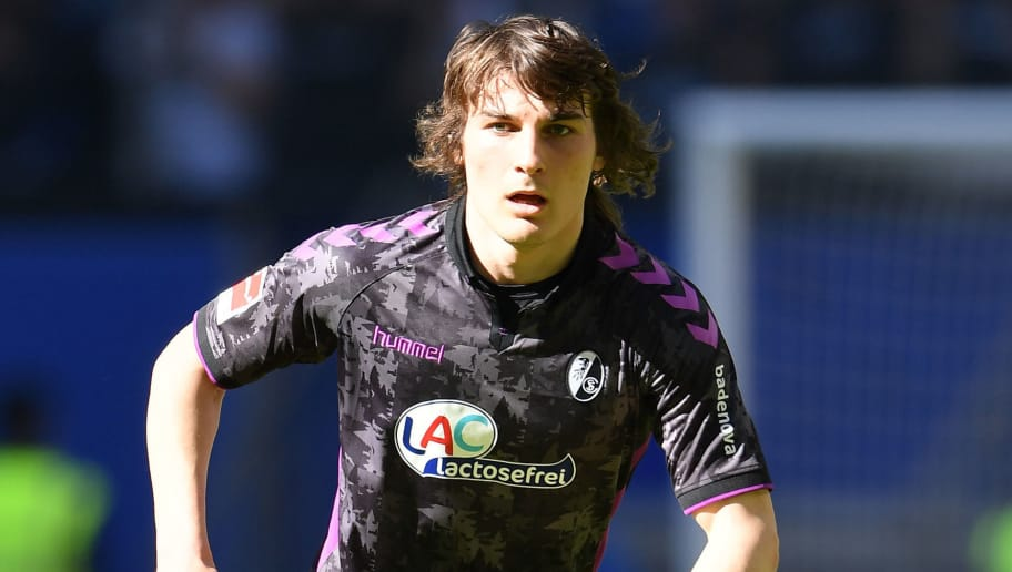 HAMBURG, GERMANY - APRIL 21:  Caglar Soyuncu of Freiburg in action during the Bundesliga match between Hamburger SV and Sport-Club Freiburg at Volksparkstadion on April 21, 2018 in Hamburg, Germany.  (Photo by Stuart Franklin/Bongarts/Getty Images)