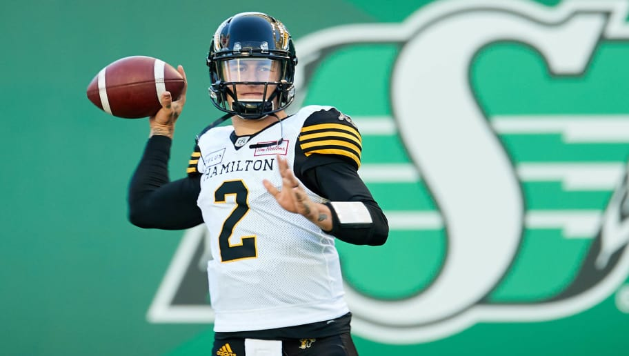 REGINA, SK - JULY 05:  Johnny Manziel #2 of the Hamilton Tiger-Cats throws a pass during pregame warmup before the game between the Hamilton Tiger-Cats and Saskatchewan Roughriders at Mosaic Stadium on July 5, 2018 in Regina, Canada. (Photo by Brent Just/Getty Images)