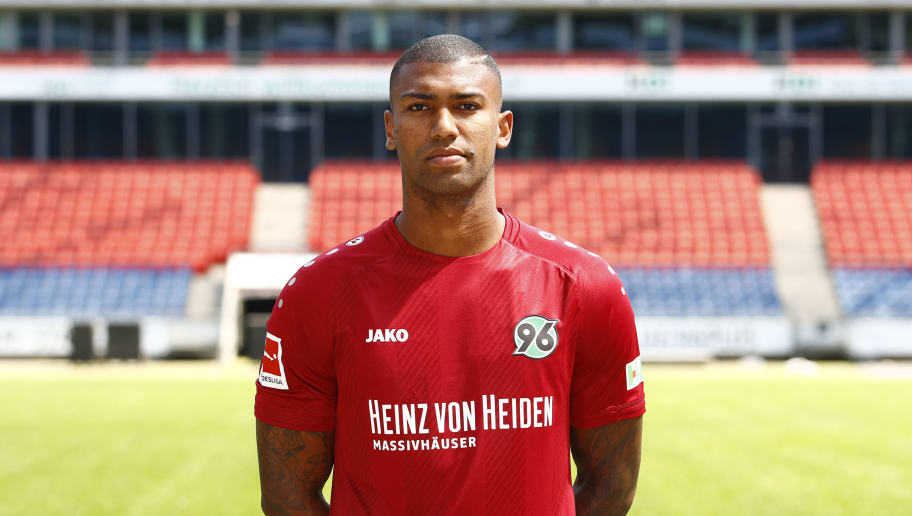 HANOVER, GERMANY - JULY 19: Walace of Hannover 96 poses during the team presentation at HDI-Arena on July 19, 2018 in Hanover, Germany. (Photo by Joachim Sielski/Bongarts/Getty Images)