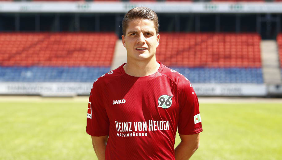 HANOVER, GERMANY - JULY 19: Pirmin Schwegler of Hannover 96 poses during the team presentation at HDI-Arena on July 19, 2018 in Hanover, Germany. (Photo by Joachim Sielski/Bongarts/Getty Images)