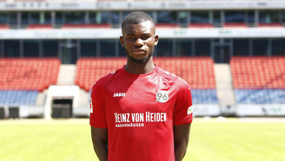 HANOVER, GERMANY - JULY 19: Ihlas Bebou of Hannover 96 poses during the team presentation at HDI-Arena on July 19, 2018 in Hanover, Germany. (Photo by Joachim Sielski/Bongarts/Getty Images)