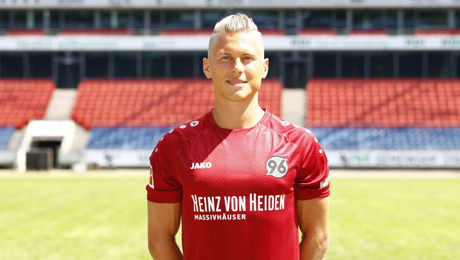 HANOVER, GERMANY - JULY 19: Matthias Ostrzolek of Hannover 96 poses during the team presentation at HDI-Arena on July 19, 2018 in Hanover, Germany. (Photo by Joachim Sielski/Bongarts/Getty Images)