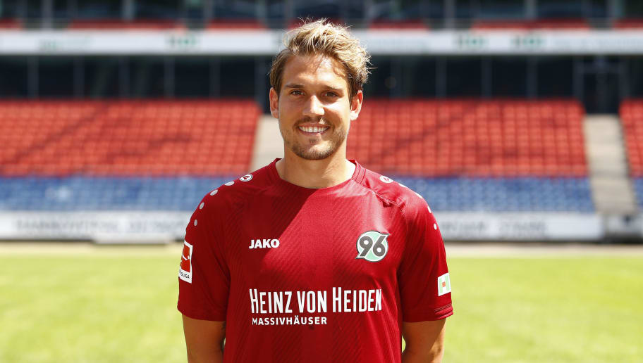 HANOVER, GERMANY - JULY 19: Oliver Sorg of Hannover 96 poses during the team presentation at HDI-Arena on July 19, 2018 in Hanover, Germany. (Photo by Joachim Sielski/Bongarts/Getty Images)