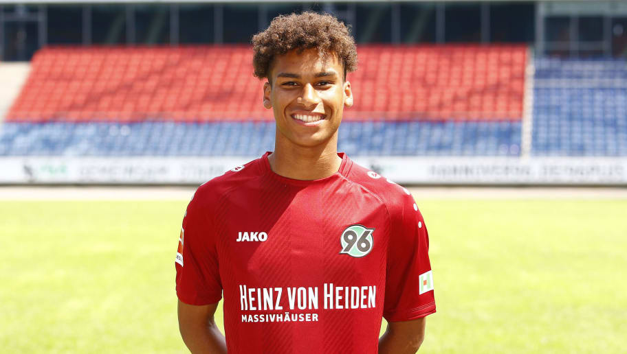 HANOVER, GERMANY - JULY 19: Linton Maina of Hannover 96 poses during the team presentation at HDI-Arena on July 19, 2018 in Hanover, Germany. (Photo by Joachim Sielski/Bongarts/Getty Images)