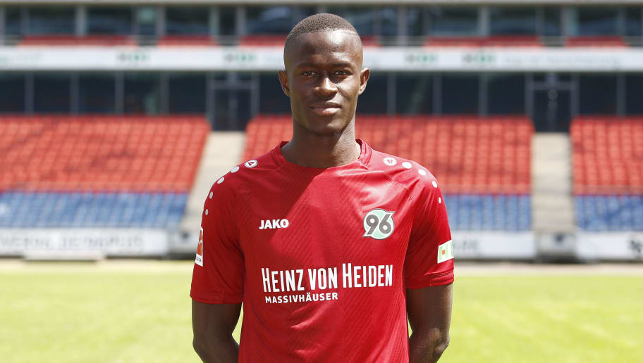 HANOVER, GERMANY - JULY 19: Babacar Gueye of Hannover 96 poses during the team presentation at HDI-Arena on July 19, 2018 in Hanover, Germany. (Photo by Joachim Sielski/Bongarts/Getty Images)
