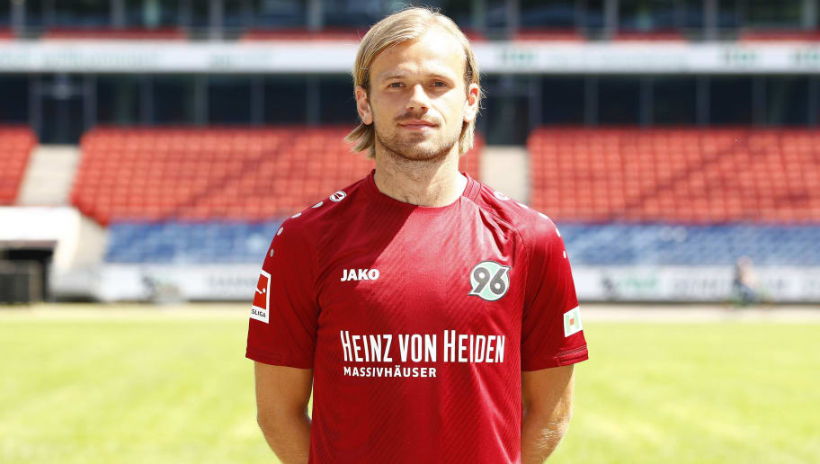 HANOVER, GERMANY - JULY 19: Iver Fossum of Hannover 96 poses during the team presentation at HDI-Arena on July 19, 2018 in Hanover, Germany. (Photo by Joachim Sielski/Bongarts/Getty Images)