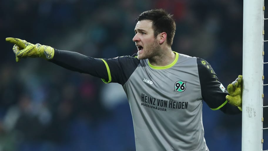 HANOVER, GERMANY - JANUARY 13:  Michael Esser of Hannover gesticulated during the Bundesliga match between Hannover 96 and 1. FSV Mainz 05 at HDI-Arena on January 13, 2018 in Hanover, Germany.  (Photo by Oliver Hardt/Bongarts/Getty Images)