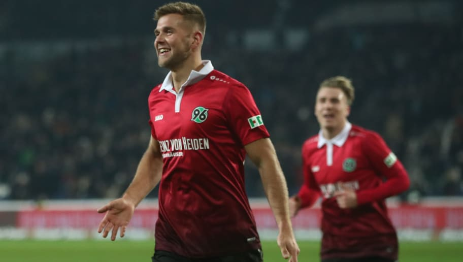 HANOVER, GERMANY - JANUARY 13:  Niclas Fuellkrug  of Hannover celebrates after his third goal during the Bundesliga match between Hannover 96 and 1. FSV Mainz 05 at HDI-Arena on January 13, 2018 in Hanover, Germany.  (Photo by Oliver Hardt/Bongarts/Getty Images)