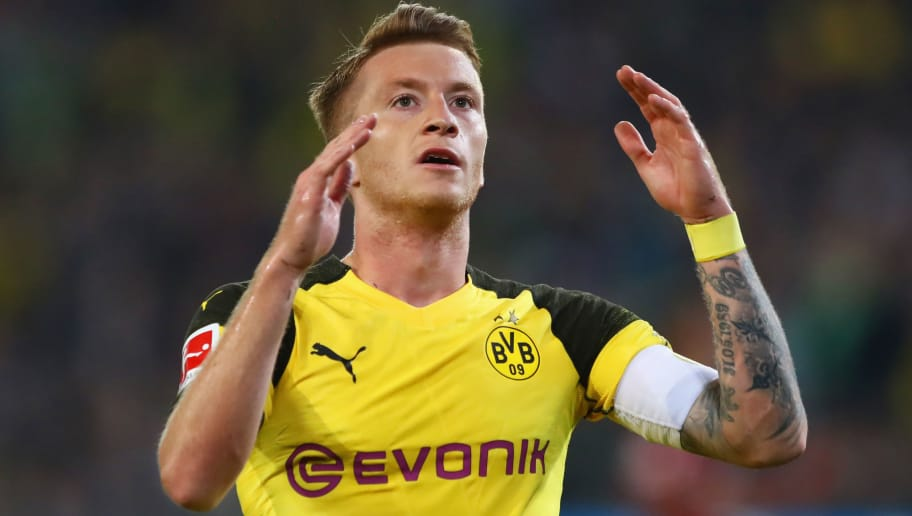 HANOVER, GERMANY - AUGUST 31:  Marco Reus of Borussia Dortmund reacts during the Bundesliga match between Hannover 96 and Borussia Dortmund at HDI-Arena on August 31, 2018 in Hanover, Germany.  (Photo by Martin Rose/Bongarts/Getty Images)