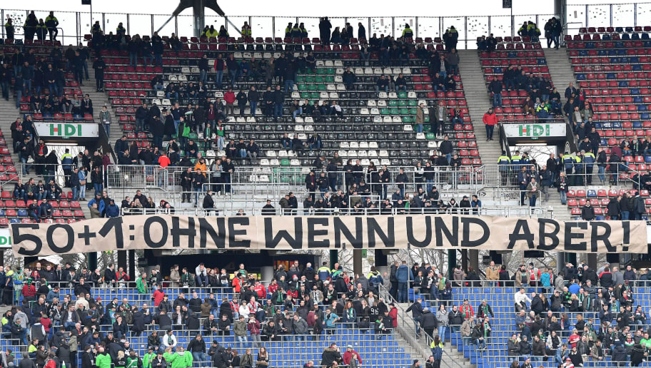 HANOVER, GERMANY - MARCH 10:  Fans of Hannover hold a banner during the Bundesliga match between Hannover 96 and FC Augsburg at HDI-Arena on March 10, 2018 in Hanover, Germany.  (Photo by Stuart Franklin/Bongarts/Getty Images)