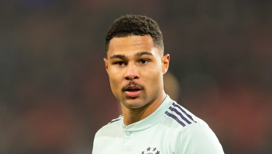 HANOVER, GERMANY - DECEMBER 15: Serge Gnabry of Bayern Muenchen looks on during the Bundesliga match between Hannover 96 and FC Bayern Muenchen at HDI-Arena on December 15, 2018 in Hanover, Germany. (Photo by TF-Images/TF-Images via Getty Images)