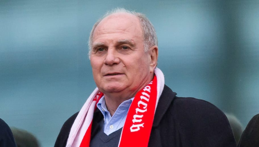 HANOVER, GERMANY - DECEMBER 15: Uli Hoeness of Bayern Muenchen looks on during the Bundesliga match between Hannover 96 and FC Bayern Muenchen at HDI-Arena on December 15, 2018 in Hanover, Germany. (Photo by TF-Images/TF-Images via Getty Images)
