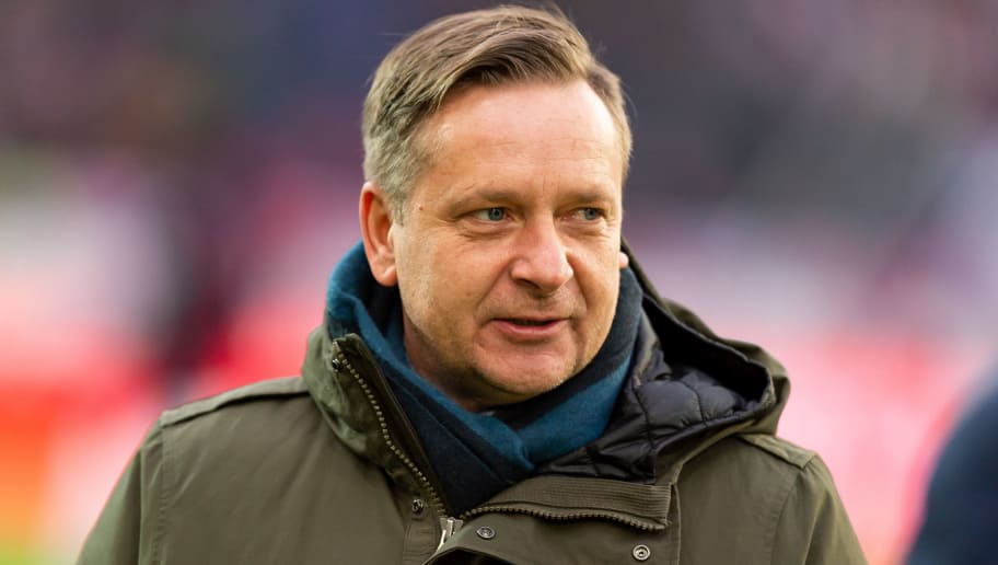 HANOVER, GERMANY - DECEMBER 15: Horst Heldt of Hannover looks on during the Bundesliga match between Hannover 96 and FC Bayern Muenchen at HDI-Arena on December 15, 2018 in Hanover, Germany. (Photo by TF-Images/TF-Images via Getty Images)