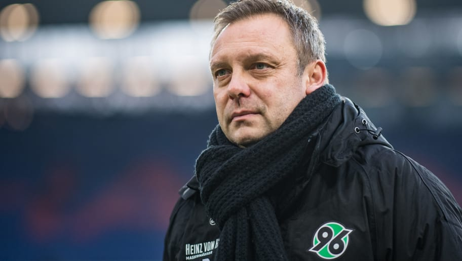 HANOVER, GERMANY - DECEMBER 22: Head Coach Andre Breitenreiter of Hannover looks on prior ot the Bundesliga match between Hannover 96 and Fortuna Duesseldorf at HDI-Arena on December 22, 2018 in Hanover, Germany. (Photo by Lukas Schulze/Bongarts/Getty Images)