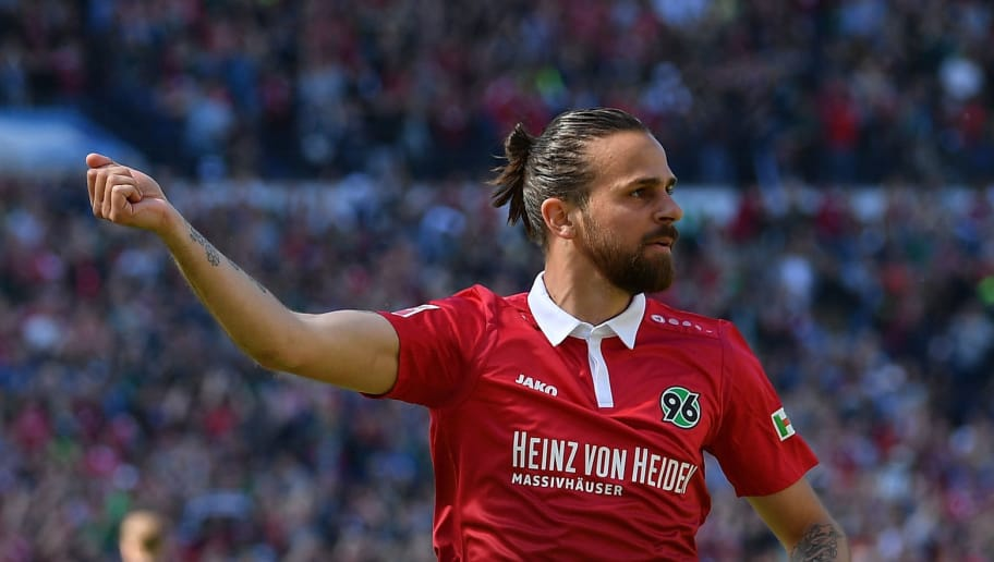 HANOVER, GERMANY - MAY 05:  Martin Harnik of Hannover celebrates scoring the first goal during the Bundesliga match between Hannover 96 and Hertha BSC at HDI-Arena on May 5, 2018 in Hanover, Germany.  (Photo by Stuart Franklin/Bongarts/Getty Images)