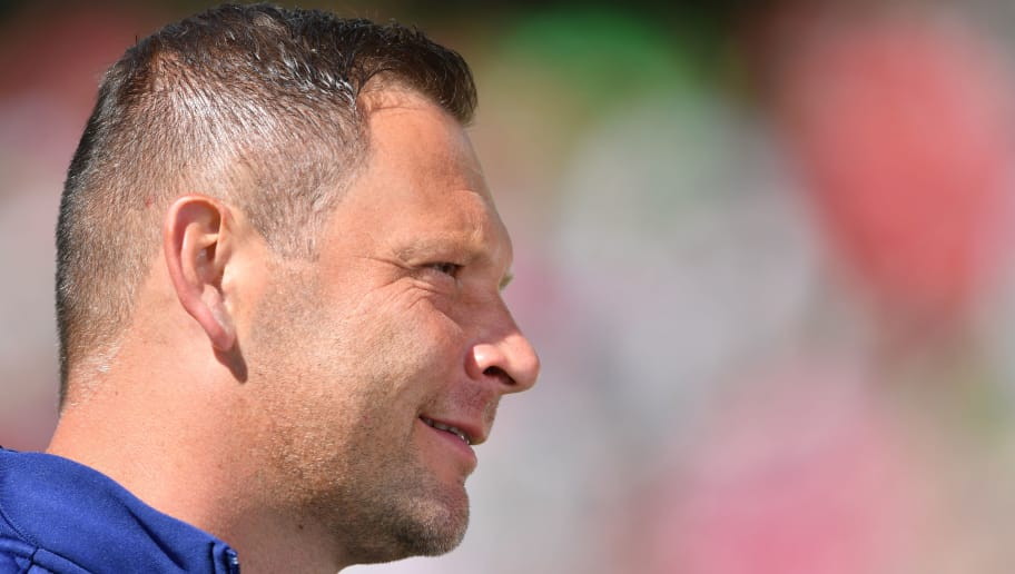 HANOVER, GERMANY - MAY 05:  Pal Dardai, head coach of Berlin looks on during the Bundesliga match between Hannover 96 and Hertha BSC at HDI-Arena on May 5, 2018 in Hanover, Germany.  (Photo by Stuart Franklin/Bongarts/Getty Images)