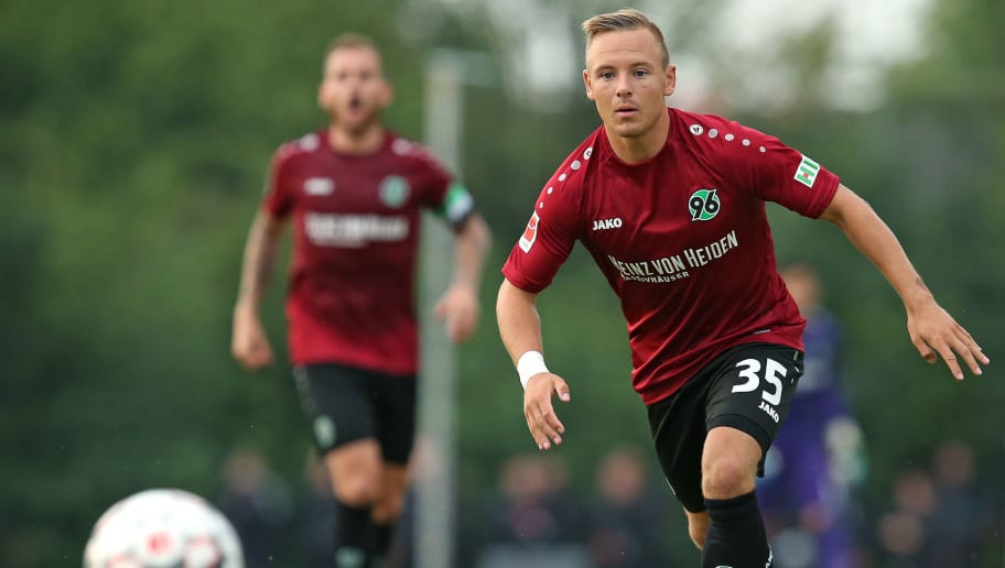ILTEN, GERMANY - JULY 21: Uffe Bech of Hannover in action during the preseason friendly match between Hannover 96 and PEC Zwolle at Wahre Dorff Arena on July 21, 2018 in Ilten, Germany. (Photo by Cathrin Mueller/Bongarts/Getty Images)