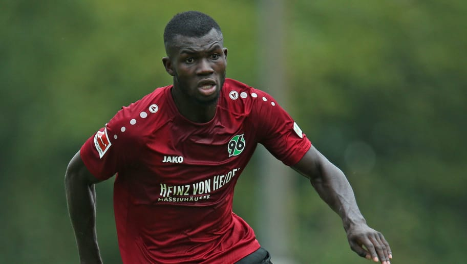 ILTEN, GERMANY - JULY 21: Ihlas Bebou of Hannover in action during the preseason friendly match between Hannover 96 and PEC Zwolle at Wahre Dorff Arena on July 21, 2018 in Ilten, Germany. (Photo by Cathrin Mueller/Bongarts/Getty Images)