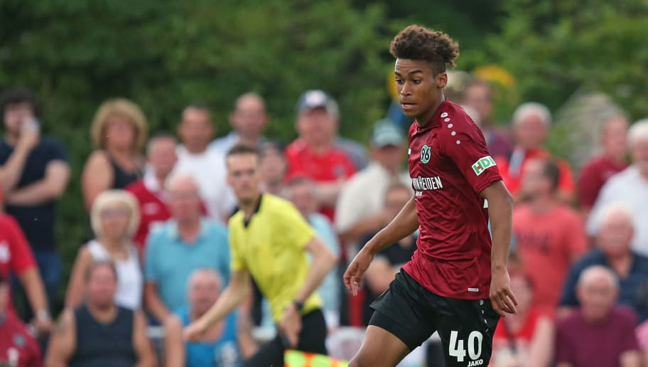 ILTEN, GERMANY - JULY 21: Linton Maina of Hannover in action during the preseason friendly match between Hannover 96 and PEC Zwolle at Wahre Dorff Arena on July 21, 2018 in Ilten, Germany. (Photo by Cathrin Mueller/Bongarts/Getty Images)