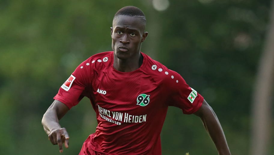 ILTEN, GERMANY - JULY 21: Babacar Gueye of Hannover in action during the preseason friendly match between Hannover 96 and PEC Zwolle at Wahre Dorff Arena on July 21, 2018 in Ilten, Germany. (Photo by Cathrin Mueller/Bongarts/Getty Images)