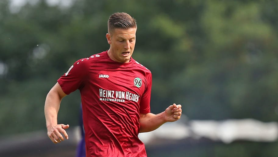 ILTEN, GERMANY - JULY 21: Kevin Wimmer of Hannover in action during the preseason friendly match between Hannover 96 and PEC Zwolle at Wahre Dorff Arena on July 21, 2018 in Ilten, Germany. (Photo by Cathrin Mueller/Bongarts/Getty Images)