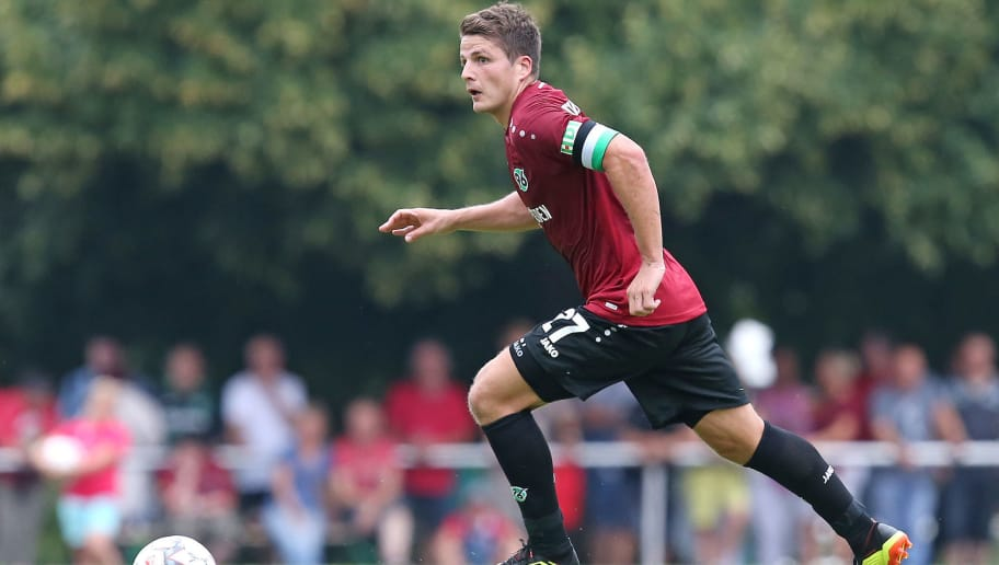 ILTEN, GERMANY - JULY 21: Pirmin Schwegler of Hannover in action during the preseason friendly match between Hannover 96 and PEC Zwolle at Wahre Dorff Arena on July 21, 2018 in Ilten, Germany. (Photo by Cathrin Mueller/Bongarts/Getty Images)