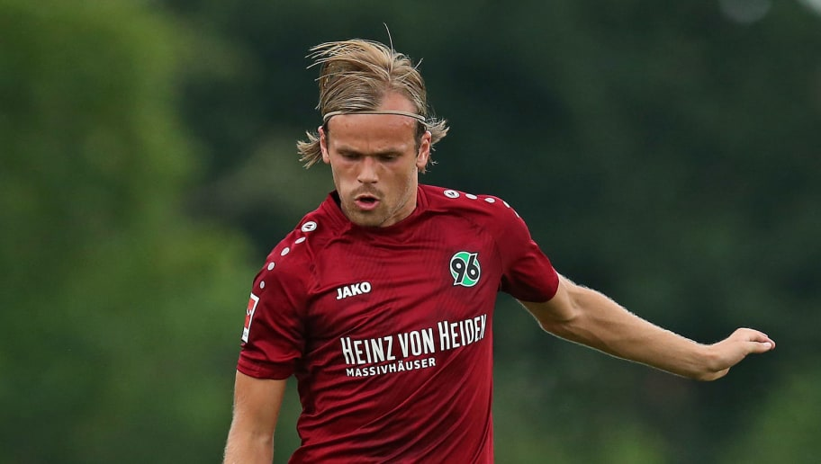 ILTEN, GERMANY - JULY 21: Iver Fossum of Hannover in action during the preseason friendly match between Hannover 96 and PEC Zwolle at Wahre Dorff Arena on July 21, 2018 in Ilten, Germany. (Photo by Cathrin Mueller/Bongarts/Getty Images)