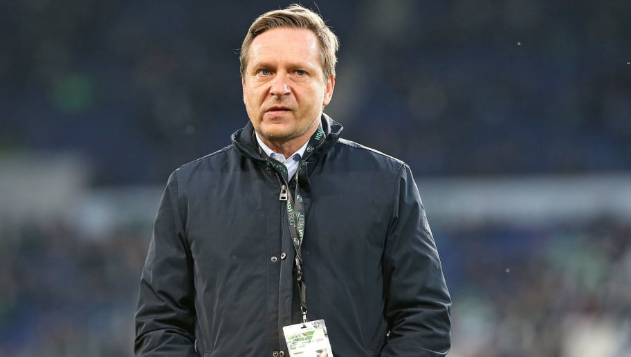 HANNOVER, GERMANY - APRIL 06: Horst Heldt of Hannover looks on prior to the Bundesliga match between Hannover 96 and Werder Bremen at HDI Arena on April 06, 2018 in Hannover, Germany. (Photo by TF-Images/Getty Images)
